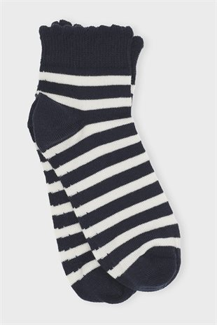 MOSHI MOSHI MIND - STRIPED LILYLACE SOCKS - ECRU/NAVY