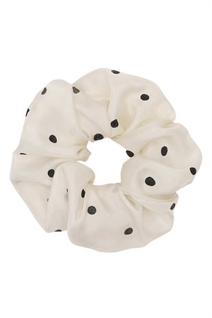MOSHI MOSHI MIND - DOTTED SCRUNCHIE SILK - ECRU/BLACK
