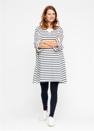 MOSHI MOSHI MIND -  SWEATDRESS STRIPE - ECRU/NAVY