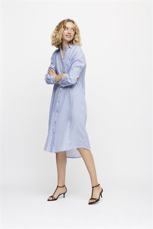 MOSHI MOSHI MIND - SOUND SHIRT DRESS CHAMBRAY - LIGHT BLUE