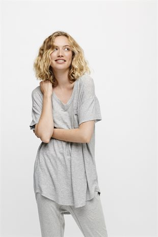 MOSHI MOSHI MIND - DREAMY T-SHIRT - LIGHT GREY MELANGE