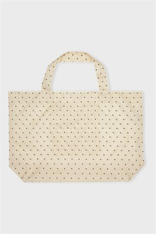 MOSHI MOSHI MIND - DOTTED FOLDABLE SHOPPER - ECRU/BLAC