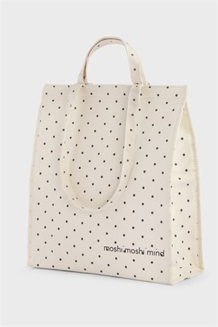 DOTTED COOLER BAG - ECRU/BLACK