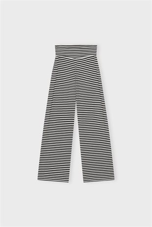 MOSHI MOSHI MIND - PURE PANTS STRIPE - ECRU/BLACK
