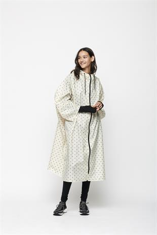 MOSHI MOSHI MIND - DOTTED RAIN CAPE - ECRU/BLACK DOTS
