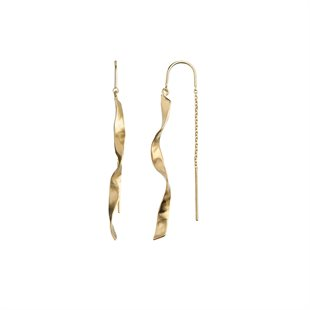 STINE A - LONG TWISTED HAMMERED EARRING WITH CHAIN - GULD