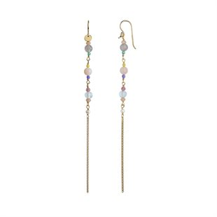 STINE A - LONG EARRING WITH STONES AND CHAINS - GULD