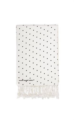 MOSHI MOSHI MIND - DOTTED MIND TOWEL - ECRU/BLACK