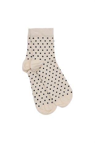MOSHI MOSHI MIND - DOTTED SOCKS - ECRU/BLACK DOTS