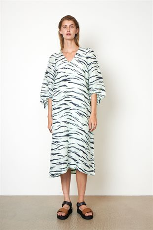 SECOND FEMALE - TIGER MIDI DRESS - CLEARLY AQUA