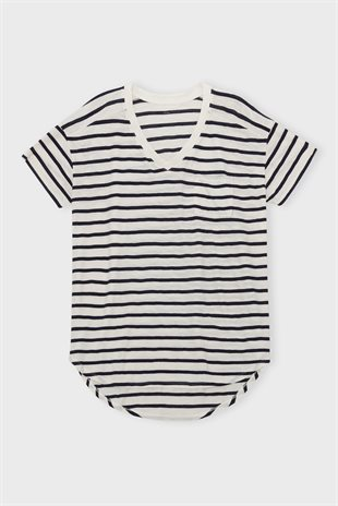 MOSHI MOSHI MIND - DREAMY T-SHIRT STRIPE - ECRU/NAVY