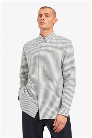 FRED PERRY - M1661 VERTICAL STRIPE SHIRT - SNOW WHITE