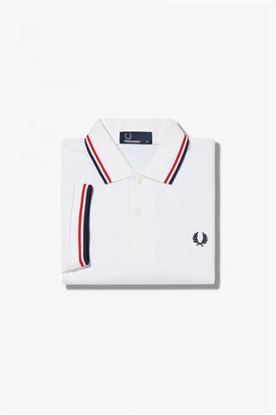 FRED PERRY - TWIN TIPPED FP SHIRT - WHITE/RED/NAVY