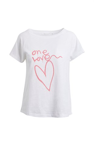 RABENS SALONER - SALLY ONE LOVE PRINT T-SHIRT - CHALK/CORAL