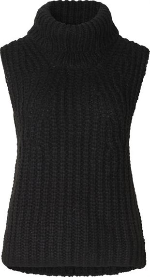 SECOND FEMALE - IVORY KNIT VEST - BLACK