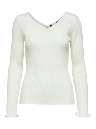 SELECTED - SLFCOSTA LS FRILL KNIT W-NECK - SNOW WHITE