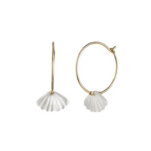 STINE A - HOOP WITH WHITE SEASHELL - GOLD